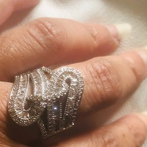 Austrian Crystal Baguette Ring in 925